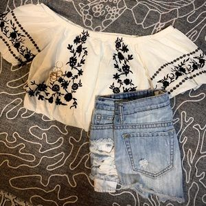 American Eagle cropped off the shoulder top